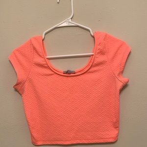 Neon coral Charlotte Russe crop top